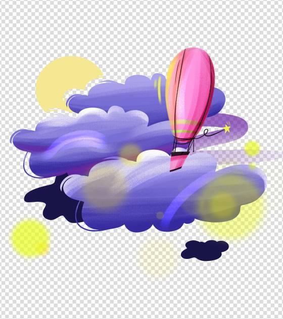 手绘紫色云朵热气球