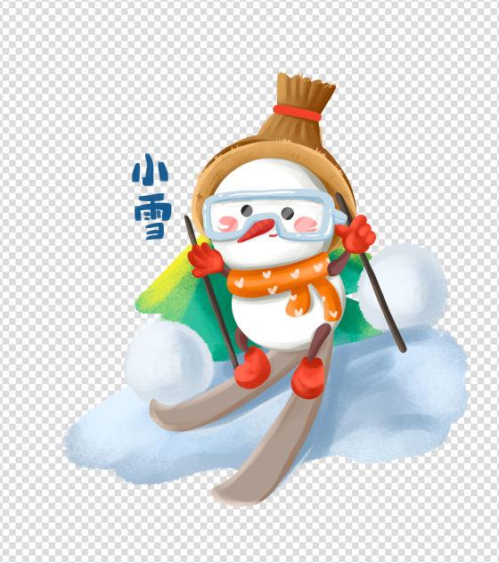 手绘小雪节气滑雪的雪人