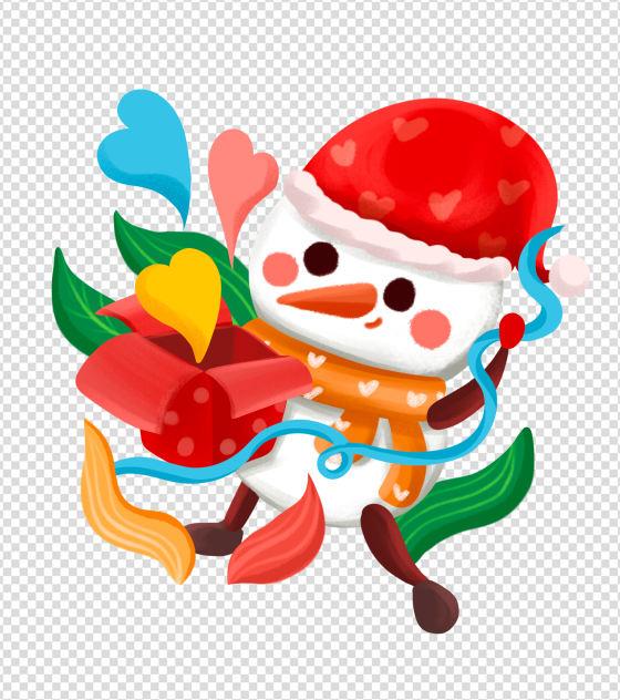 手绘卡通圣诞节雪人礼物