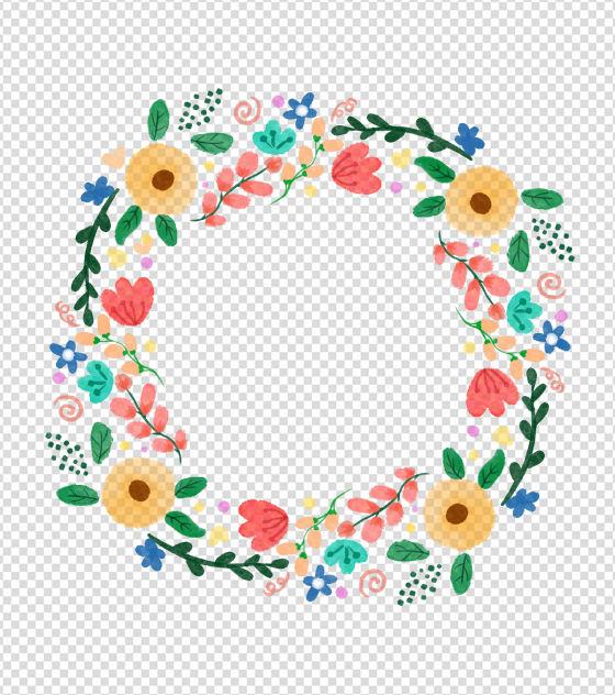 清新水彩花环边框