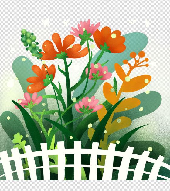 小清新手绘卡通花丛