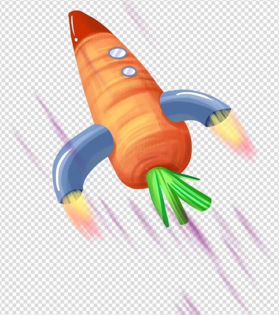 手绘胡萝卜火箭