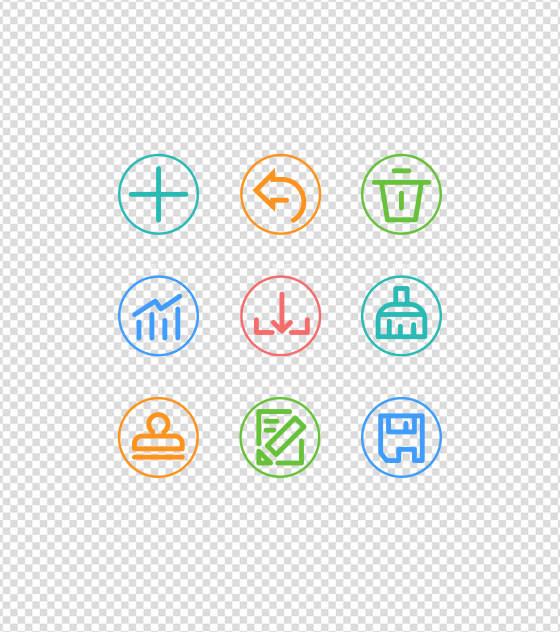 多彩线条办公UI图标元素