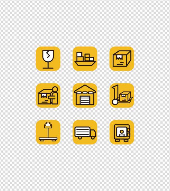 黄色物流快递UI图标元素