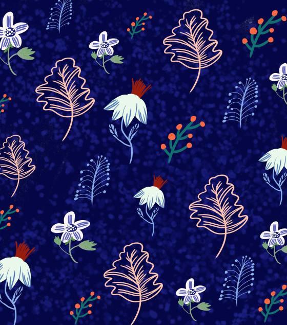 紫色叶子花卉平铺背景