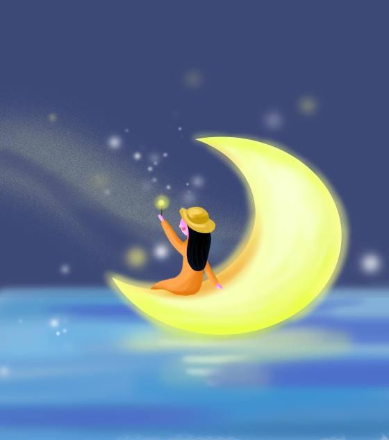 坐在月亮上摘星元素