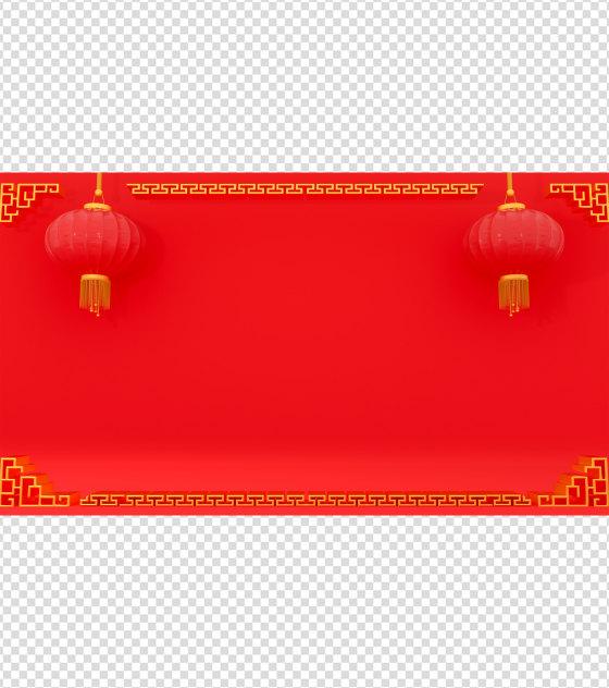 中国风红色灯笼C4DPPT背景