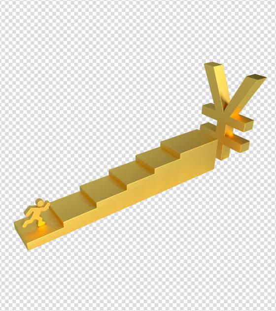 金色努力赚钱上阶梯元素
