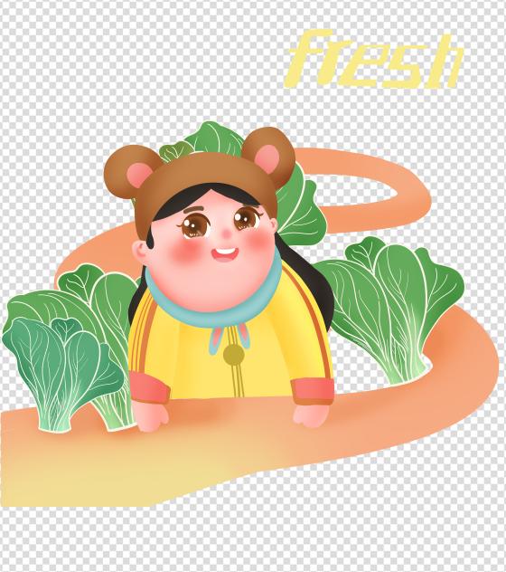 绿色蔬菜围绕小女孩元素