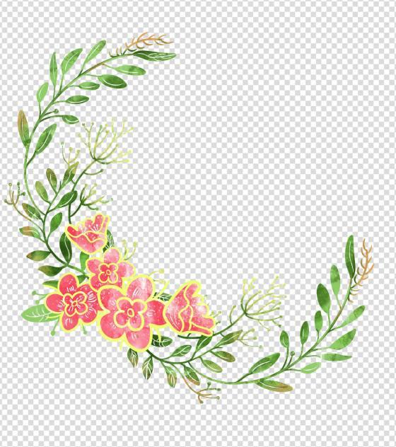 小清新花环背景元素