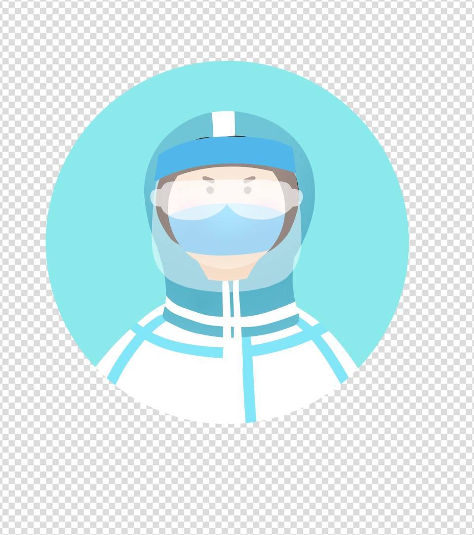 蓝色防护服医护人员头像元素