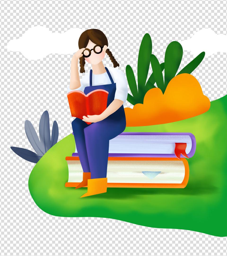 书上读书女孩元素