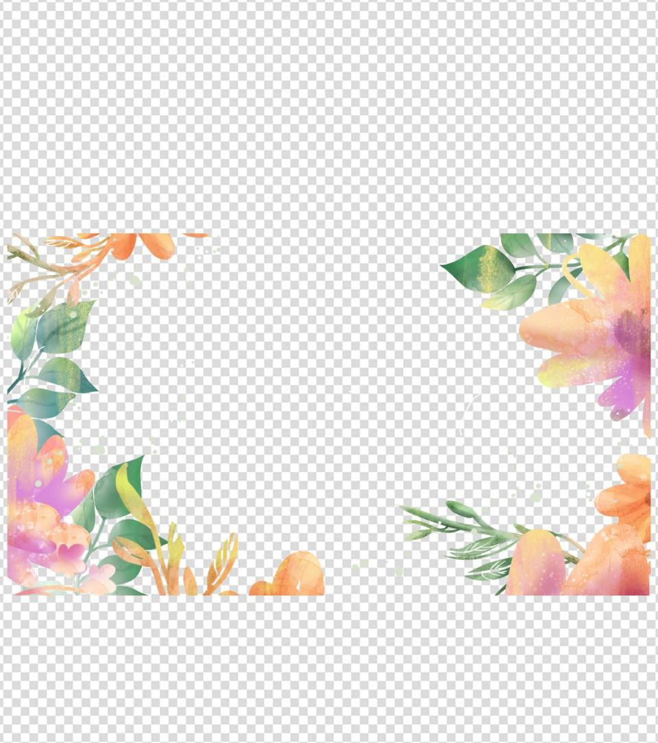 清新水彩植物PPT背景